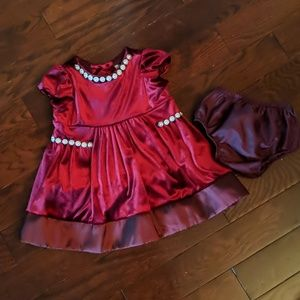 Burgundy infant dress
